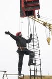 worker builder installing a concrete formwork poster