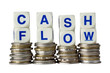 Stacks of coins with the word CASH FLOW isolated on white