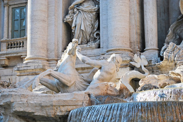 Triton and the seahorse in the Trevi fountain