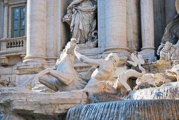 Triton and the seahorse in the Trevi fountain