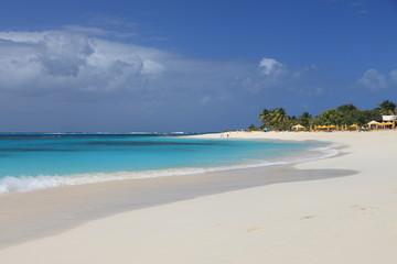 Deserted clean sandy beach on Anguilla, Caribbean