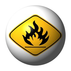 sphere with danger flammable sign on exterior illustration