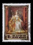North Korean mail stamp featuring Queen Victoria of Britain poster