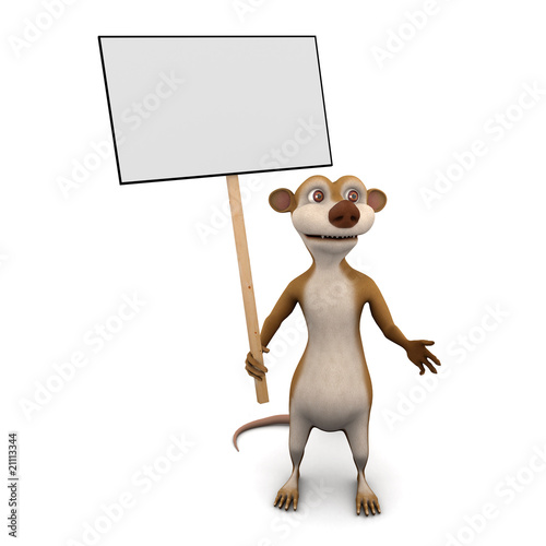 Rat with placard
