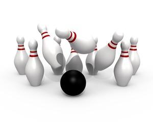 Bowling ball hitting the pins - 3d image