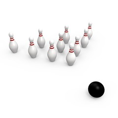 Bowling ball going for the pins - 3d image