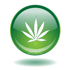 CANNABIS LEAF Button (Marijuana Smoke Joint Drugs Sign Symbol)