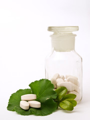 Pharmacy bottle of pills, and green leaf