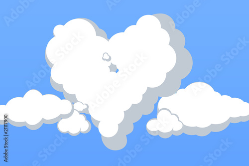 Lovely Clouds of Heart Vector