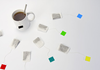 Cup of tea and different teabags