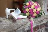 Fototapety Brautstrauß, Brautschuhe, Hochzeit und accessories