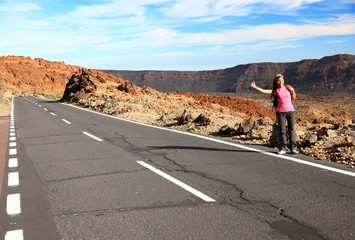 Woman Backpacking / Hitchhiking on Teide, Tenerife