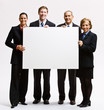 Business people holding blank paper