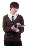 Office Young Adult Man. Studio Shoot Over White Background. poster