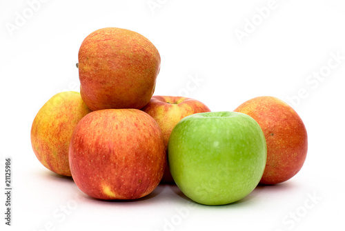 several isolated apples
