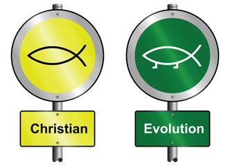 Christian and Evolution graphic and text signs mounted on post
