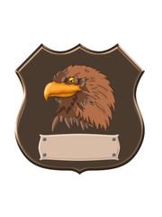 sea eagle head on shield