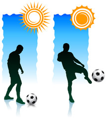 Soccer Players with Sunlight Banners