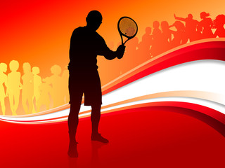 Tennis Player with Red Abstract Crowd