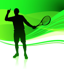 Tennis Player on Green Abstract Background