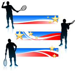 Tennis Player and United States Banner Set