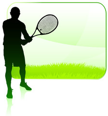 Tennis Player with Blank Nature Frame