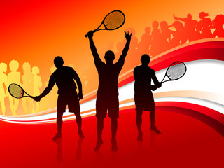 Tennis Team with Red Abstract Crowd