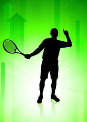 Tennis Player on Green Arrows Background