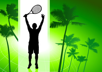 Tennis Player on Green Tropical Background