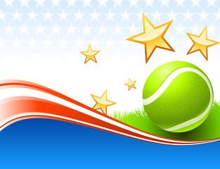 Tennis Ball on United States wave Background