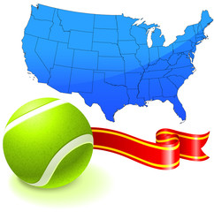 Tennis Ball with United States Map