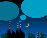Factory with smokestacks silhouette and thought bubbles poster
