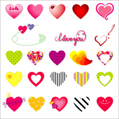 Vector hearts and symbols of love