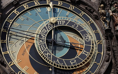 Old astronomical clock in Prague, Czech Republic.