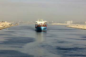 Ship passing through the Suez Canal