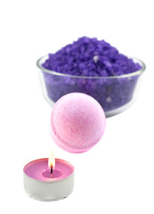 Violet  salt with candle and bath ball