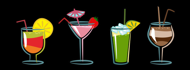 Colorful icon set of drinks and cocktails