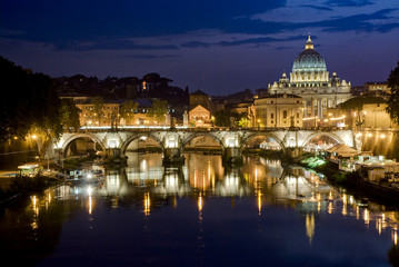 Picturesque view of St. Peter's Basilica from river Tiber