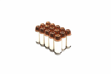 A Group of Suspended Bullets on White Background