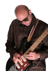 Bald guy playing guitar solo