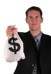 Happy business men show proudly his money bag