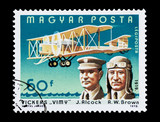 Hungarian stamp featuring aviators Alcock and Brown poster