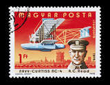 Hungarian stamp featuring aviation pioneer Albert Cushing Read poster