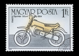 hungarian mail stamp featuring a Fantic Sprinter motorcycle poster