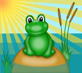 illustration of  green smiling frog with big eyes