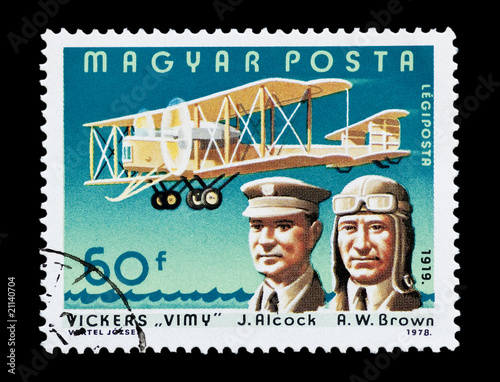 Hungarian stamp featuring aviators Alcock and Brown