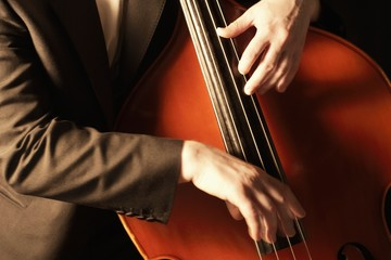 HaNds plucking fingerboard of double bass