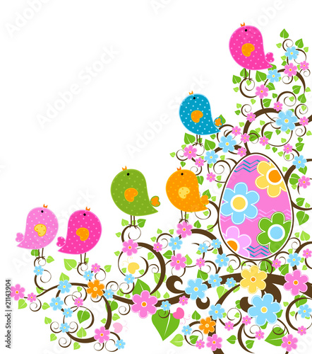 Poster Vogels, bijen easter design