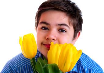 boy with yellow tulips