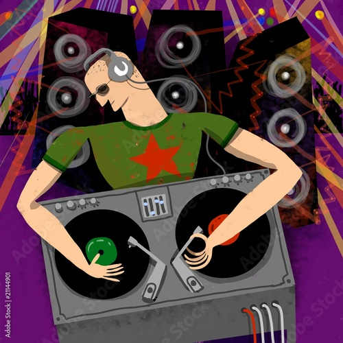 A Disck Jockey working in a party